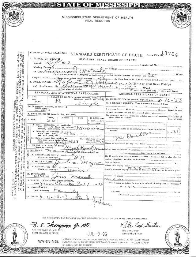 Robert Johnson\'s alleged death certificate - American Blues Scene