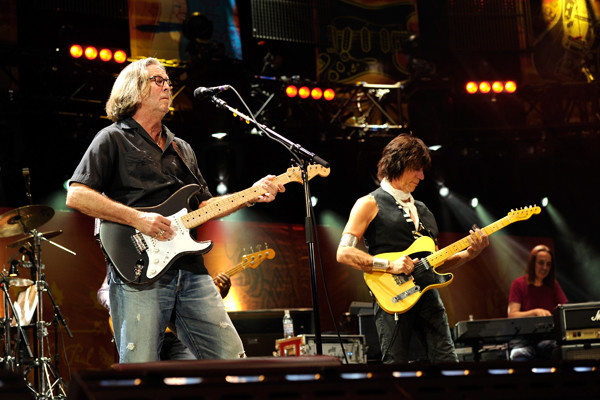 Eric Clapton with Jeff Beck at Crossroads Guitar Festival