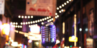 A Microphone is set up in Printer's Alley, Nashville for a movie shoot