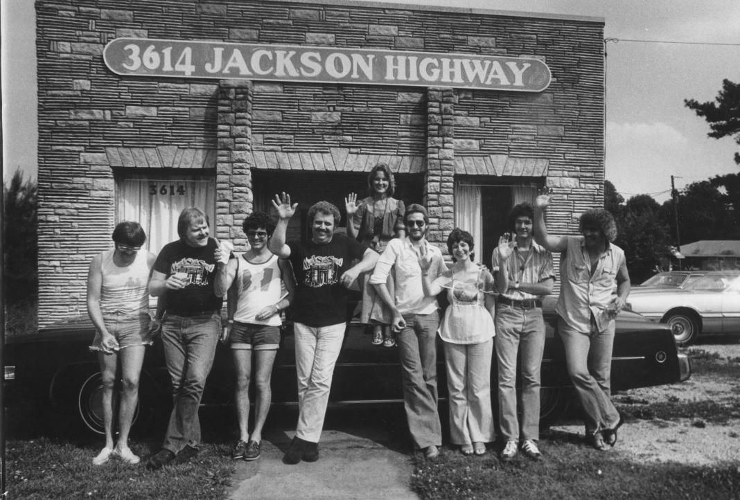 L to R Roger Hawkins, Barry Beckett, David Hood, Jimmy Johnson, Carol Buckins, Steve Melton, Diane Butler, Pearce Pettus and Bobby Heathcote