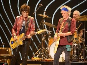 "LOS ANGELES, CA - MAY 03:  Ronnie Wood and Keith Richards perform on stage during the Rolling Stones ""50 & Counting"" tour opener at Staples Center on May 3, 2013 in Los Angeles, California.  (Photo by Kevin Mazur/WireImage) *** Local Caption *** Ronnie Wood; Keith Richards"