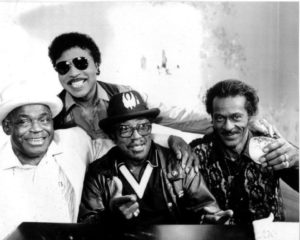 Left to right, Willie Dixon, Little Richard, Bo Diddley and Chuck Berry
