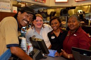 Bobby Rush with fans a tthe Chick-Fil-A, photo by Kim Welsh