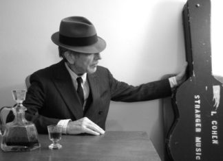 Classic photo of Leonard Cohen from the artist's website