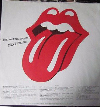 The original Tongue and Lips logo first appeared on the inside sleeve of the Rolling Stones Sticky Fingers' Vinyl in 1971