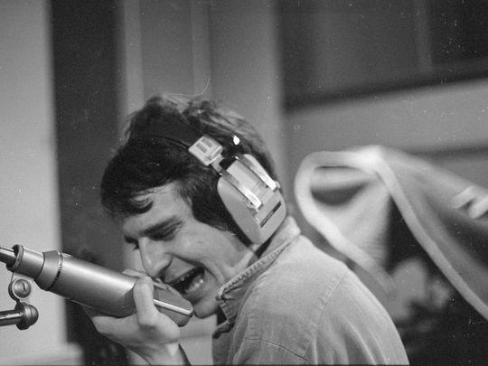 Alex Chilton on the mic at Ardent Studios Photo-Patricia Rainer