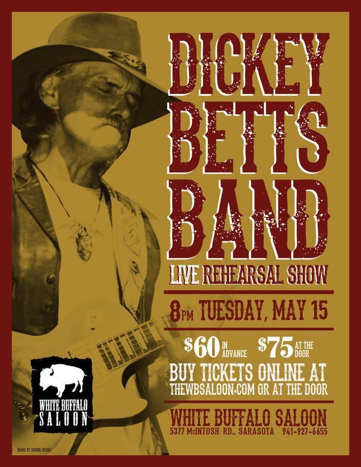 Dickey Betts rehearsal show ad