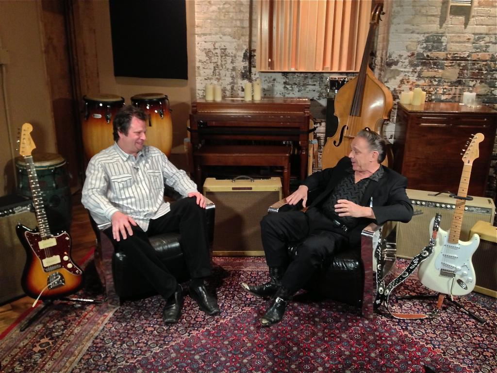 Dave interviewing Jimmie Vaughan at the Evanston SPACE studios.